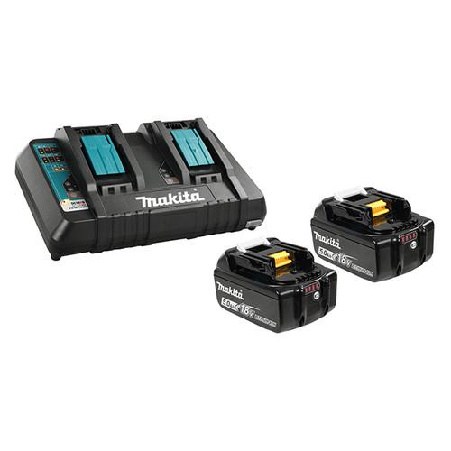 Makita Y-00359 DC18RD Dual Charger + 2x 5ah Batteries Starter Kit