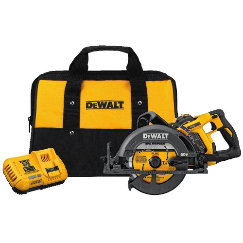 Dewalt DCS577X1  Flexvolt 60V MAX 7-1/4 in Brushless Worm Drive Style Saw, 9.0Ah Battery Kit