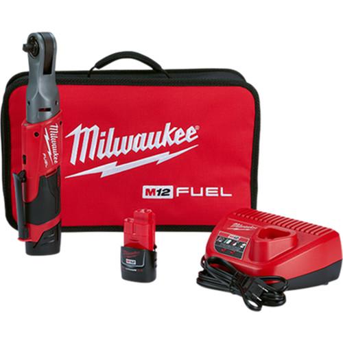 "Milwaukee 2557-22 M12 FUEL 3/8"" Ratchet 2 Battery Kit"