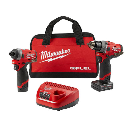 "Milwaukee 2598-22  M12 FUEL Gen 2 - Two-Tool Combo Kit: 1/2"" Hammer Drill and 1/4"" Hex Impact Driver"