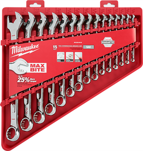 Milwaukee 48-22-9415  15pc Combination Wrench Set - SAE