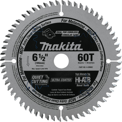 "Makita A-99982 6‑1/2"" 60T (ATB) Carbide‑Tipped Plunge Saw Blade"