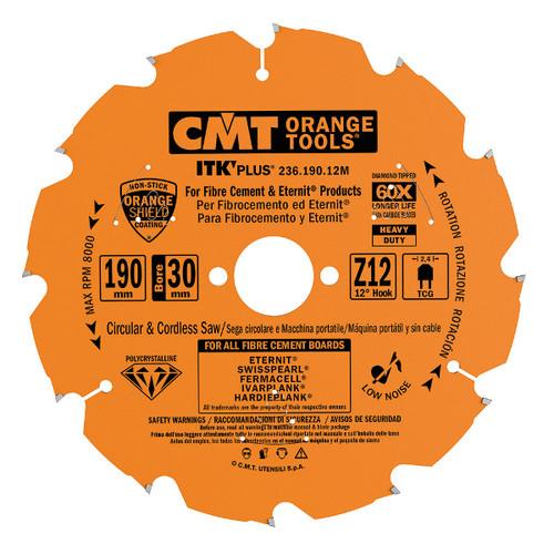 CMT Orange Tools CMT-23621012M TS 75 Blade 4 Tooth 30mm Bore - Fibre Cement