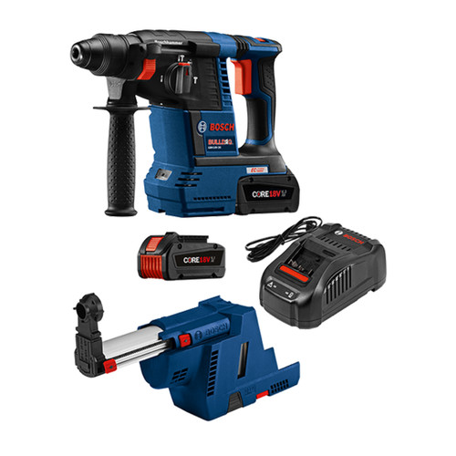 Bosch GBH18V-26K24GDE 18V EC Brushless 1 In. SDS-plus Bulldog Rotary Hammer Kit with (2) CORE18V 6.3 Ah Batteries and Dust-Collection Attachment