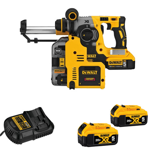 """DeWALT DCH273P2DHO 20V MAX* XR Brushless 1"""" L-shape SDS Plus Rotary Hammer Kit With On Board Dust Extractor"""