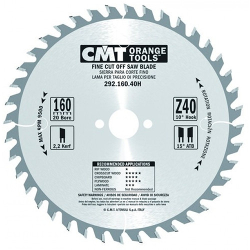 CMT Orange Tools CMT-29216040H Fine Cut-Off Saw Blade 160mm (6-5/16-Inch) X