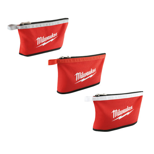 Milwaukee 48-22-8193 3 PACK ZIPPER POUCH upright positioned evenly