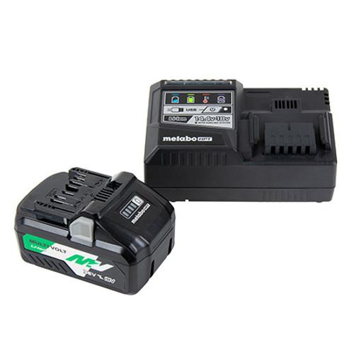 Metabo-HPT HIT-UC18YSL3B1 36V/18V MultiVolt Lithium Ion Slide Battery and Charger Starter Kit (4.0Ah/8.0Ah)