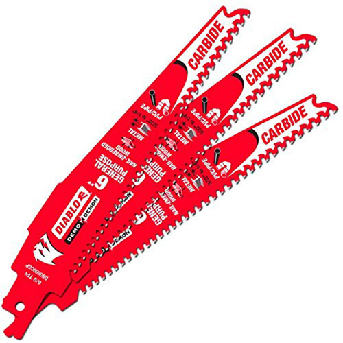 """Freud FRE-DS0609CGP3C Diablo 6"""" Carbide Tipped General Purpose Reciprocating Blade 9-6 TPI (3/32""""-1/4"""") (3 Pack)"""