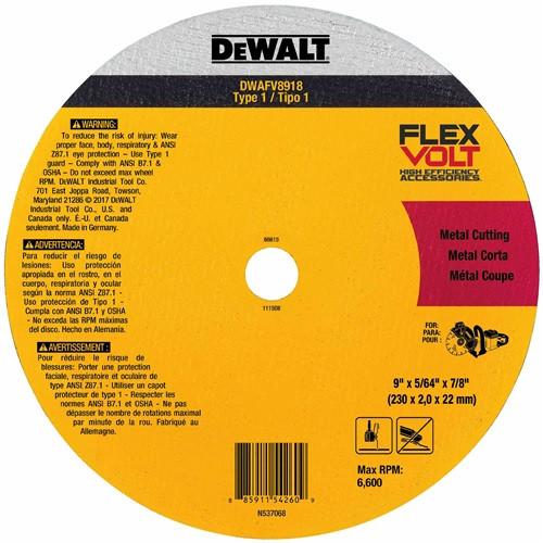 DeWALT DWAFV8918 FLEXVOLT Ceramic Metal Cutoff Wheel Type 1