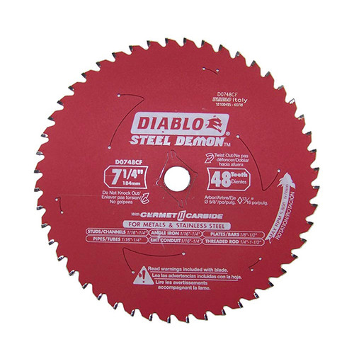 Freud FRE-D0748CF Diablo STEEL DEMON 7 1/4 inch 48 Teeth Metal and Stainless Steel Cutting Saw Blade CERMET II Carbide