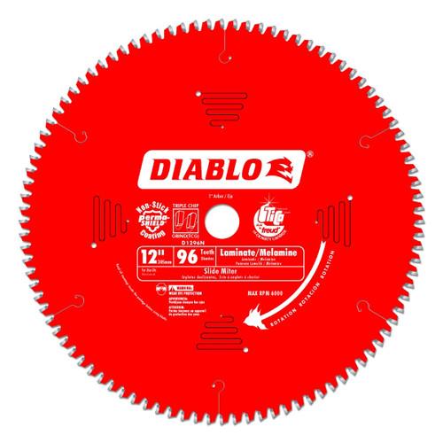 Freud FRE-D1296N Diablo 12-Inch 96 Tooth TCG Non-Ferrous Metal and Plastic Cutting Miter Saw Blade with 1-Inch Arbor