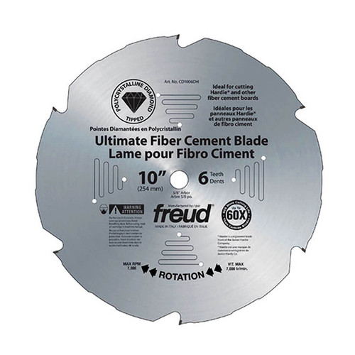 Freud FRE-D1006DHC 10 in. x 6-Tooth Polycrystalline Diamond-Tipped Ultimate Fiber Cement Blade