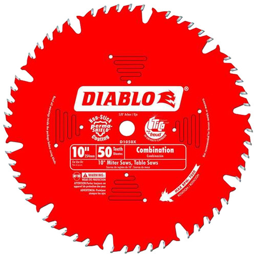 Freud FRE-D1050X Diablo 10-Inch 50 Tooth ATB Combination Saw Blade with 5/8-Inch Arbor and PermaShield Coating