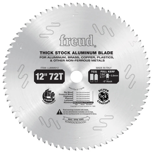 Freud FRE-LU89M012 12-Inch 72 Tooth Thick Stock Aluminum Metal Blade with 1-Inch Arbor