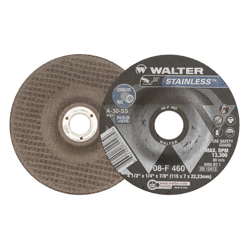 Walter Surface Technologies WAL-08F460 4.5In Stainless Grind Disc