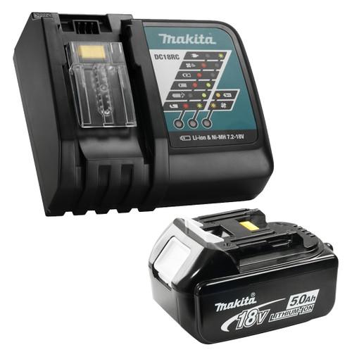 Makita Y-00309 Li-Ion Rapid Charger (DC18RC) + 1x 5.0Ah 18V Li-Ion Battery Combo Kit