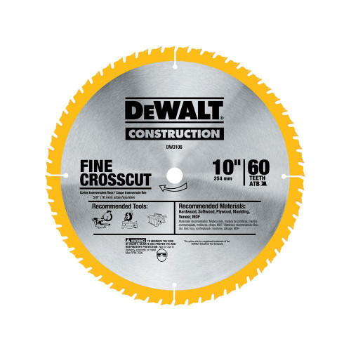 DeWALT DW3106 Large Diameter Construction Saw Blade 10in 60T Fine Crosscut Blade