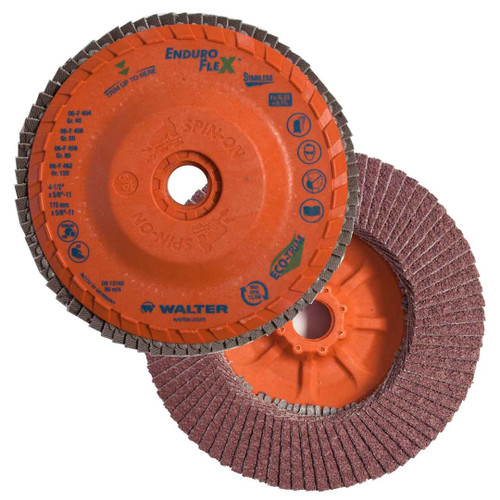 "Walter Surface Technologies WAL-06F462 4.5"" Enduro-Flex Stainless Spin-On Flap Disc 120 Grit"