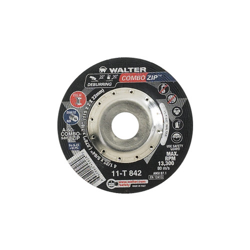 "Walter Surface Technologies WAL-11T842 4.5"" Combo Zip Cut-Off Wheel"
