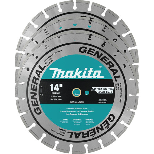 "Makita A-94932 14"" Diamond Blade, Segmented, General Purpose, Contractor, 3/pk"