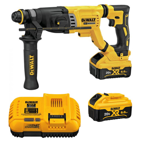 "DeWALT DCH263R2 20V MAX XR Brushless 1-1/8"" SDS PLUS D-Handle Rotary Hammer 2x 6.0ah Kit"