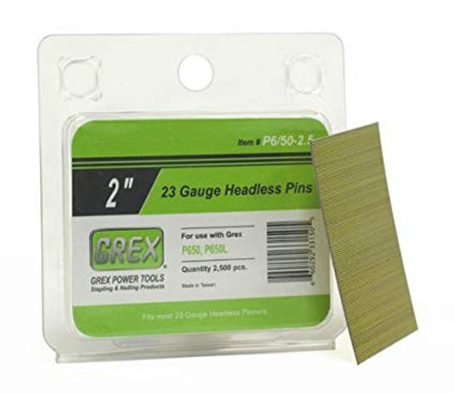 GREX Tools P6/50-2.5 23 Gauge 2 Inch Length Headless Pins (2,500 per Box)