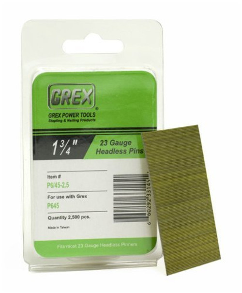 GREX Tools P6/45-2.5 23 Gauge 1-3/4 Inch Length Headless Pins (10,000 per Box)