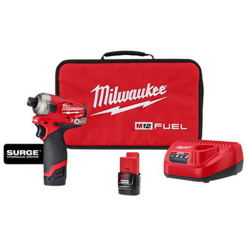 "Milwaukee 2551-22 M12 FUEL SURGE 1/4"" Hex Hydraulic Driver 2x M12 CP2.0Ah Kit"