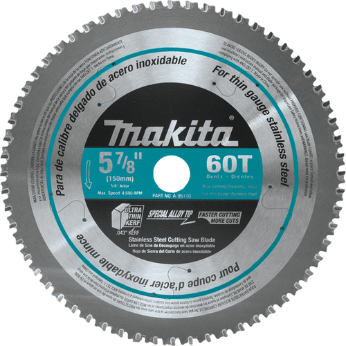 """Makita A-96110 5‑7/8"""" 60T Carbide‑Tipped Saw Blade, Stainless Steel"""