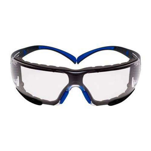 3M 3M-SF401GAF-BLU-F Securefit Safety Glasses Blue/Gray, Clear Scotchgard Anti-fog Lens, Foam Gasket, 20 EA/Case
