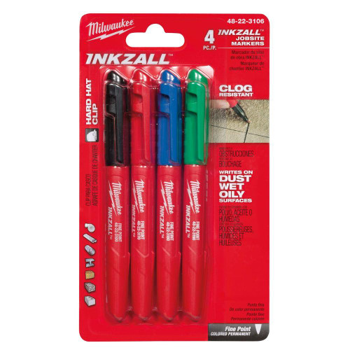 Milwaukee 48-22-3106 INKZALL Fine Point Multi-Colored Markers (4-Pack)