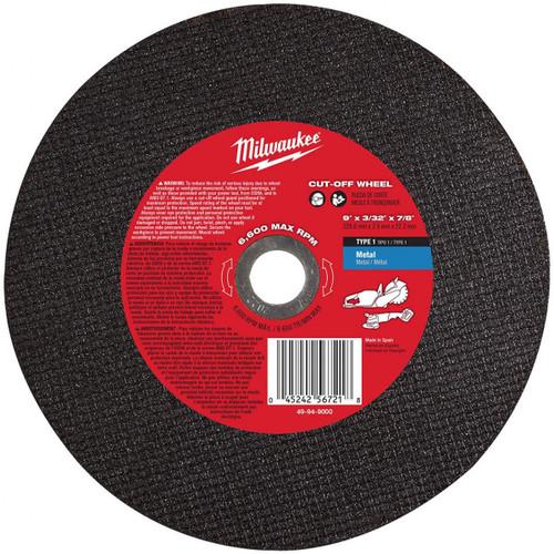 "Milwaukee 49-94-9000 9"" x 3/32"" x 7/8"" Metal Cut-Off Wheel"