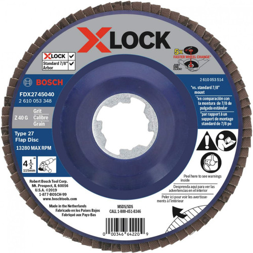 Bosch FDX2745040 4-1/2 In. X-LOCK Arbor Type 27 40 Grit Flap Disc