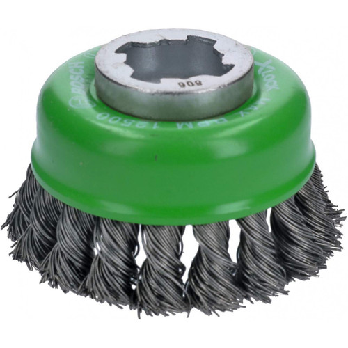 Bosch WBX329 3 In. Wheel Dia. X-LOCK Arbor Stainless Steel Knotted Wire Single Row Cup Brush