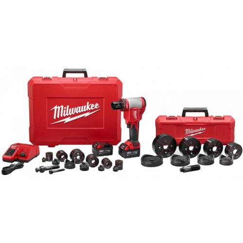 "Milwaukee 2676-23 FORCELOGIC M18 10 Ton Knockout Tool 1/2"" to 4"" Kit"