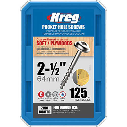 Kreg Tool KREG-SMLC250125 8X2-1/2 Zinc Coarse Maxi-Loc Pocket-Hole Screws (QTY 125)