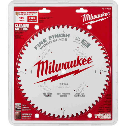 "Milwaukee 48-40-1028 10"" 60T Fine Finish Circular Saw Blade"