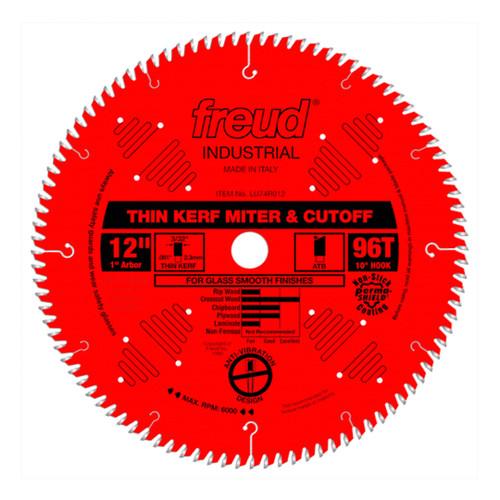 """Freud FRE-LU74R012 12"""" x 96T Thin Kerf Ultimate Cut‑Off Blade"""