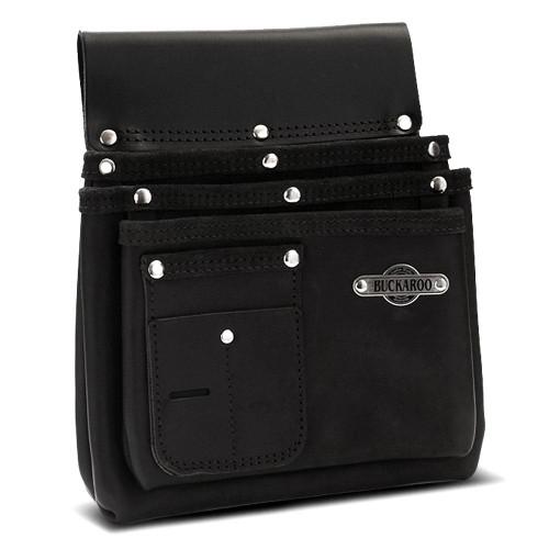 Buckaroo BUCK-NBS3B Black Leather 3 Pocket Nail Bag