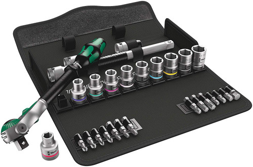 "Wera Tools WERA-05004079001 8100 SC 9 Zyklop Speed Ratchet Set, 1/2"" drive, imperial, 28 pieces"