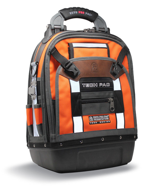 Veto Pro Pac VPP-TECH-PAC-HIVIS-ORG Backpack Tech Tool Bag - HIVIS Orange