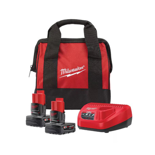 Milwaukee 48-59-2442SPC M12 12V Lithium-Ion Starter Kit with (2) 4.0Ah XC Battery Packs, Charger & Bag