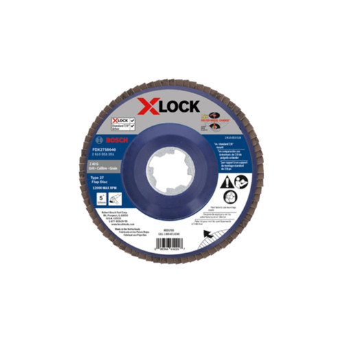 "Bosch FDX2750040 5"" X-LOCK Arbor Type 27 40-120 Grit Flap Disc"