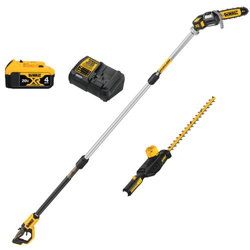 DeWALT DCKO86M1 20V MAX Cordless Pole Saw and Pole Hedge Trimmer 4.0Ah Combo Kit