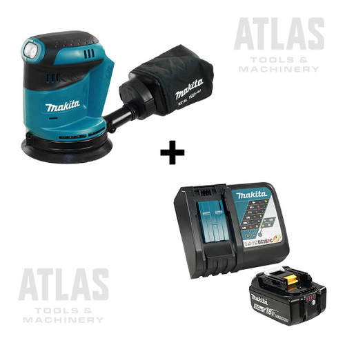 "Makita Y-00309+DBO180Z Rapid Charger 5AH Kit + 18V Cordless 5"" Random Orbit Sander"