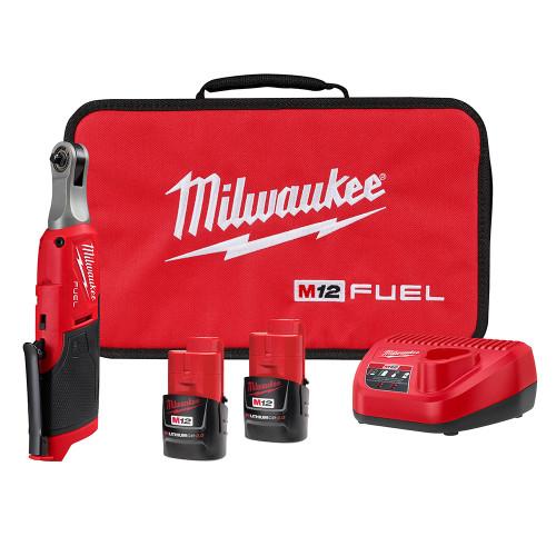 "Milwaukee 2566-22 M12 FUEL 1/4"" High Speed Ratchet 2x CP2.0 Kit"