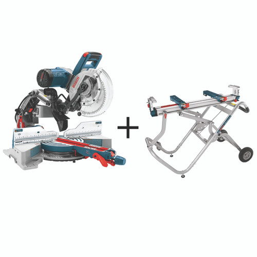 """Bosch BOS-CM10GD-T4B  10"""" Dual Bevel Glide Mitre Saw + T4B Mitre Saw Stand"""