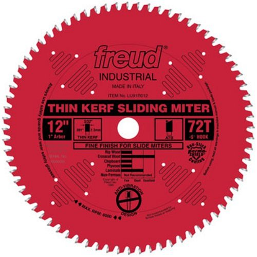 "Freud FRE-LU91R012  12"" 72 Tooth ATB Thin Kerf Sliding Miter Saw Blade with 1"" Arbor"