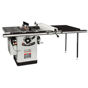 "King Industrial KC-26FXT/i50/5052  10 Extreme Cabinet Saw With Riving Knife Blade Guard System - 50"" Rail"
